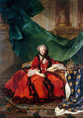 Marie Leczinska, Queen of France, 1748 | Jean-Marc Nattier| Painting Reproduction