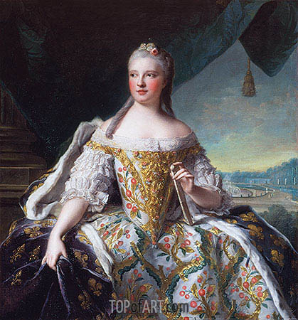 Marie-Josephe of Saxony, Dauphine of France (Madame de France), 1751 | Jean-Marc Nattier| Gemälde Reproduktion