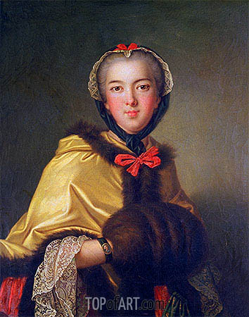 Portrait of Louis-Henriette de Bourbon-Conti, with Muffler, undated | Jean-Marc Nattier| Gemälde Reproduktion