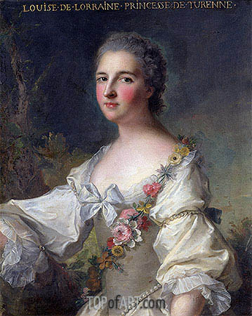Louise-Henriette-Gabrielle de Lorraine Princess of Turenne and Duchess of Bouillon, 1746 | Jean-Marc Nattier| Painting Reproduction