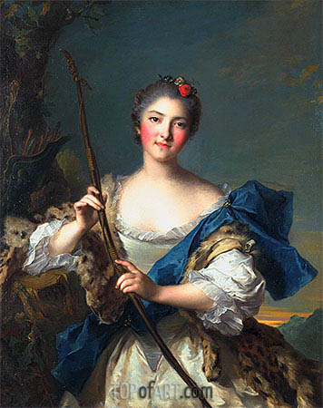 Mademoiselle de Migieu as Diana, 1742 | Jean-Marc Nattier| Painting Reproduction