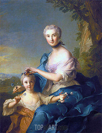 Madame Crozat de Thiers and Her Daughter, 1733 | Jean-Marc Nattier | Painting Reproduction