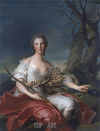 Portrait of Madame Bouret as Diana, 1745 | Jean-Marc Nattier | Gemälde Reproduktion