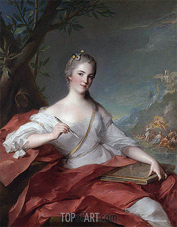 Marie-Geneviève Boudrey as a Muse, 1752 | Jean-Marc Nattier| Painting Reproduction