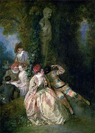 Harlequin and Columbine, c.1716/18 von Watteau | Gemälde-Reproduktion