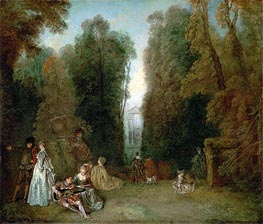 View through the Trees in the Park Pierre Crozat, c.1715 von Watteau | Gemälde-Reproduktion