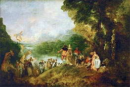 Pilgrimage to Cythera, 1717 by Watteau | Painting Reproduction