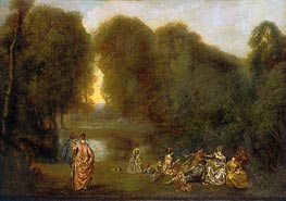 Company in a Park, c.1716/17 by Watteau | Painting Reproduction