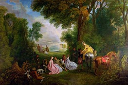 The Halt during the Chase, c.1717/12 by Watteau | Painting Reproduction