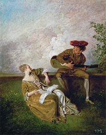 The Singing Lesson (Guitarist and Young Lady with a Music Book) | Watteau | veraltet