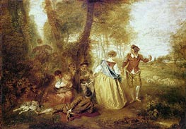 Pastoral Pleasures, c.1716 by Watteau | Painting Reproduction