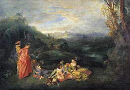 Love in the Country (Peaceful Love), c.1718/19 by Watteau | Painting Reproduction