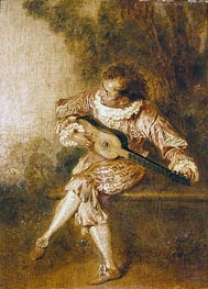 The Serenader (Guitar Player), undated by Watteau | Painting Reproduction