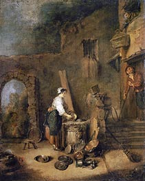 The Cook, undated by Watteau | Painting Reproduction