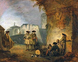 The Portal of Valenciennes, c.1709/10 by Watteau | Painting Reproduction