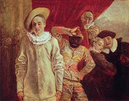 Harlequin, Pierrot and Scapin, Actors from the Commedia dell'Arte, undated by Watteau | Painting Reproduction