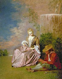 The Shy Lover, 1718 by Watteau | Painting Reproduction