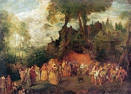 L'Accordee du Village, undated by Watteau | Painting Reproduction