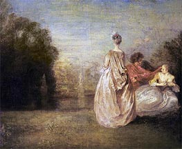 The Two Cousins, c.1716 by Watteau | Painting Reproduction