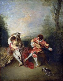 The Surprise, undated by Watteau | Painting Reproduction
