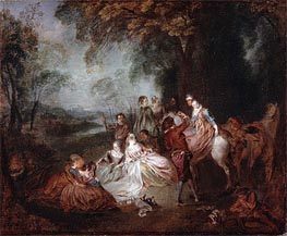 Fete Champetre, c.1720 by Watteau | Painting Reproduction