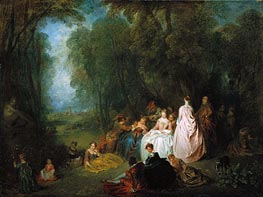 Pastoral Gathering, c.1718/21 by Watteau | Painting Reproduction