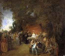 Capitulations of Wedding and Rural Dance, c.1711 by Watteau | Painting Reproduction