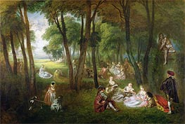 Fete in a Park (Divertissements Champetres), c.1718/20 by Watteau | Painting Reproduction