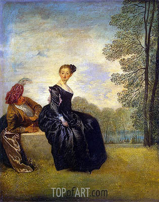 La Boudeuse (The Capricious Girl), c.1718 | Watteau| Painting Reproduction