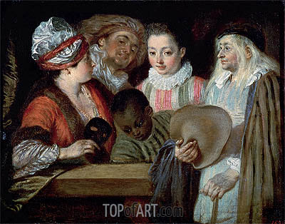 Actors of the Comedie-Francaise, c.1714/15 | Watteau| Painting Reproduction