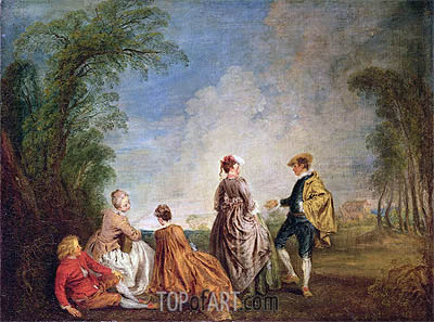 An Embarrasing Proposal, c.1715/16 | Watteau | Painting Reproduction