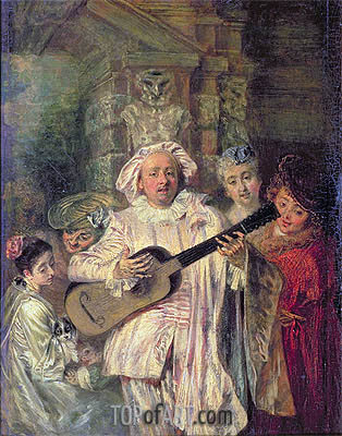 Watteau | Gilles and his Family (Sous un habit de Mezetin), c.1716