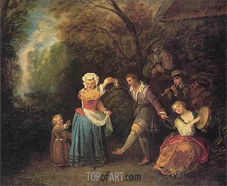 Pastoral Dance, c.1706/10 | Watteau | Gemälde Reproduktion