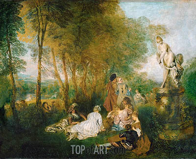 The Festival of Love (The Pleasures of Love), 1717 | Watteau| Painting Reproduction