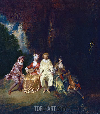 Pierrot Content, c.1712 | Watteau | Painting Reproduction