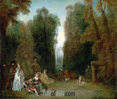 View through the Trees in the Park Pierre Crozat, c.1715 | Watteau| Gemälde Reproduktion