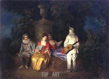 The Foursome (La Partie Quarree), c.1713 | Watteau | Painting Reproduction