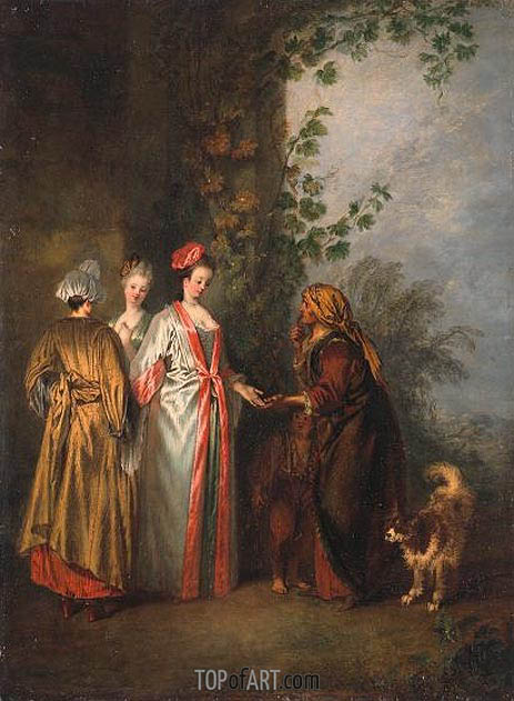 The Fortune Teller, c.1710 | Watteau| Gemälde Reproduktion
