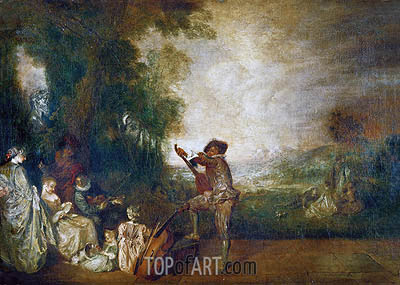The Concert (The Music Lesson), 1717 | Watteau| Painting Reproduction
