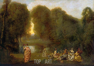 Company in a Park, c.1716/17 | Watteau | Painting Reproduction