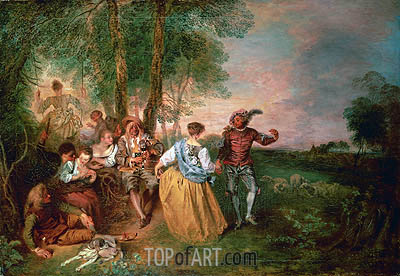The Shepherds, undated | Watteau | Painting Reproduction