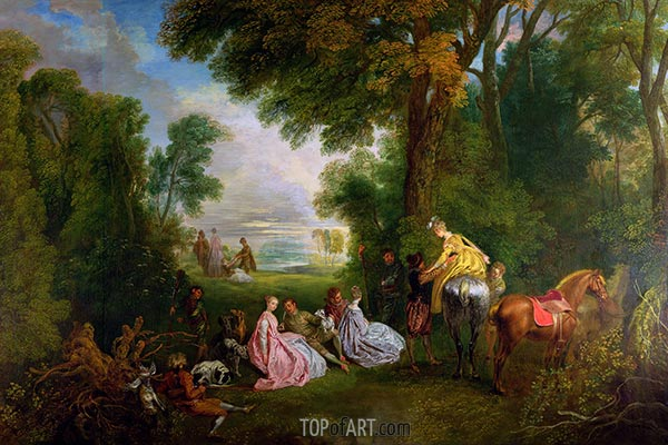 The Halt during the Chase, c.1717/12 | Watteau | Gemälde Reproduktion