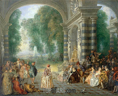Pleasures of the Ball, c.1715/17 | Watteau | Gemälde Reproduktion