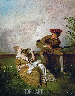 The Singing Lesson (Guitarist and Young Lady with a Music Book), c.1717/19 | Watteau | Painting Reproduction