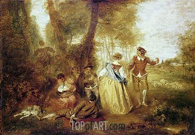 Pastoral Pleasures, c.1716 | Watteau | Gemälde Reproduktion