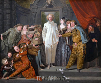 Italian Comedians, c.1720 | Watteau | Painting Reproduction