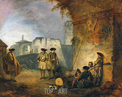 The Portal of Valenciennes, c.1709/10 | Watteau | Painting Reproduction