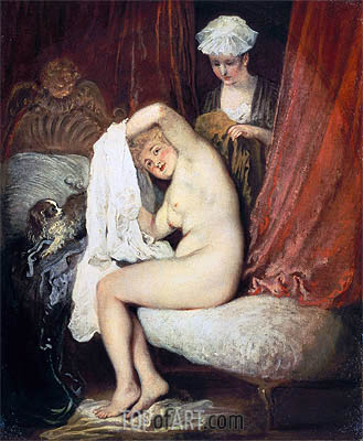 A Lady at her Toilet, c.1716/17 | Watteau | Painting Reproduction
