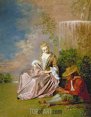 The Shy Lover, 1718 | Watteau| Gemälde Reproduktion