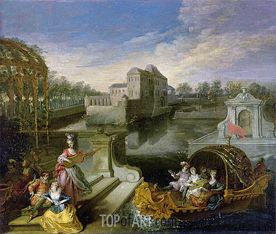 The Spring: Fete Champetre in a Water Garden with Figures in a Boat, undated | Watteau | Gemälde Reproduktion